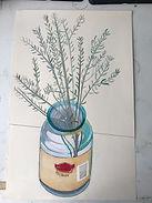 Coastal daisy bush in a Moccona Jar still life