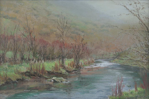 Misty Day at Monsal Dale A5 greetings card