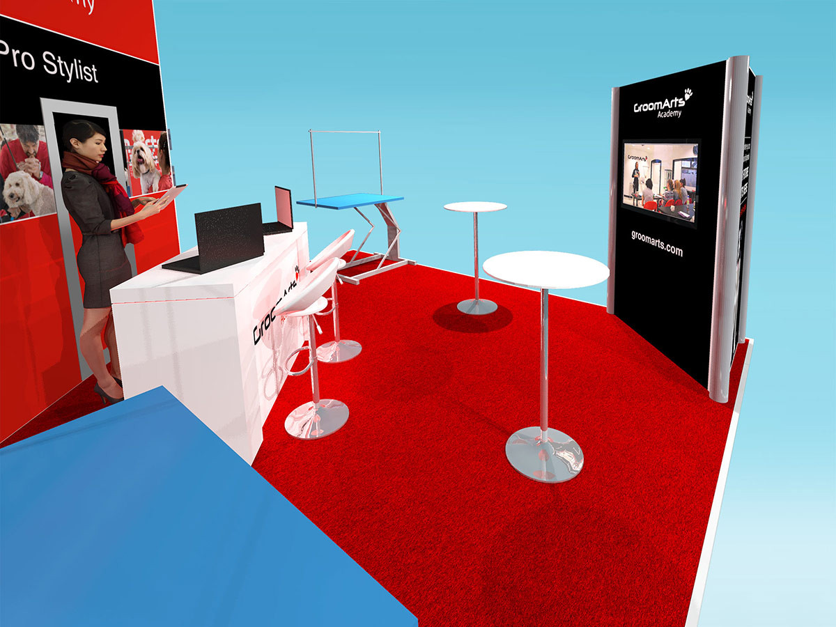modular exhibition stand design reception desk area GroomArts