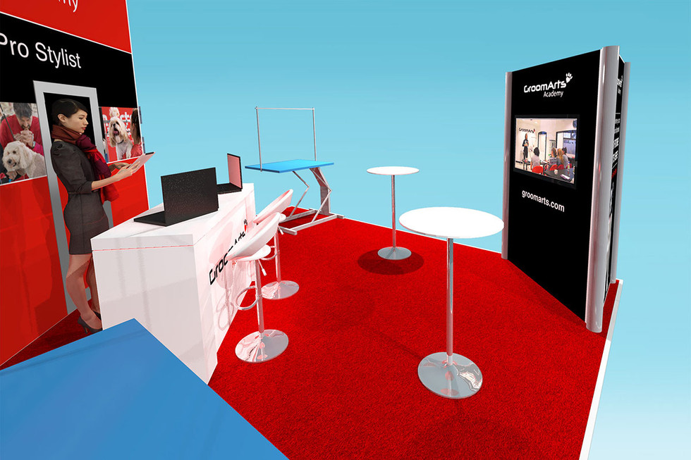 modular exhibition stand design reception desk area GroomArts