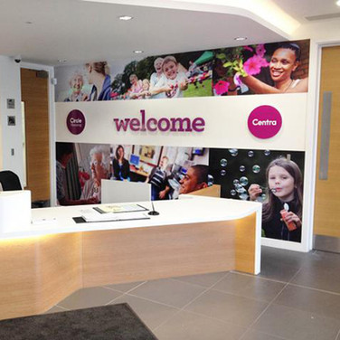 Reception Area Fit-Out with Signage, Graphics & Bespoke Counter