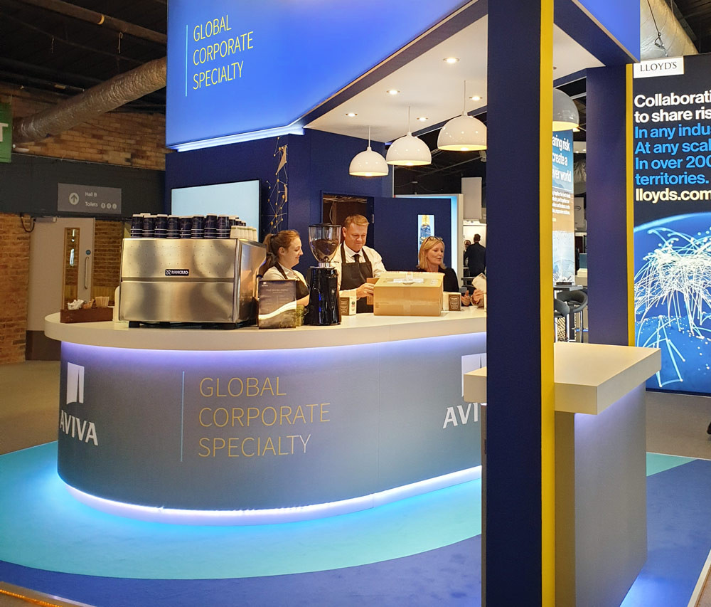 Exhibition Stand Coffee Bar Aviva Airmic 2019
