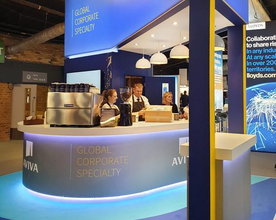 Exhibition Stand Coffee Bar Aviva Airmic 2019