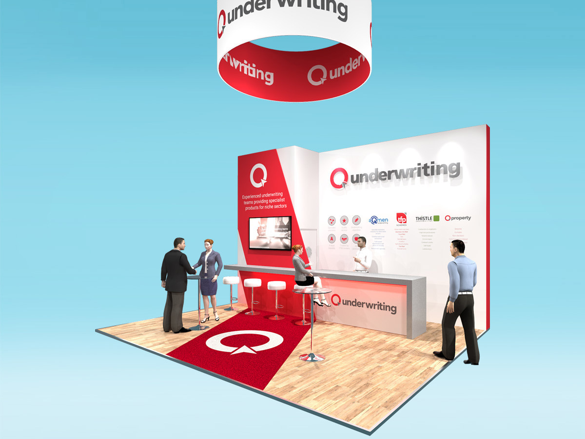 Custom Exhibition Stand Design Concept Q Underwriting BIBA 2019