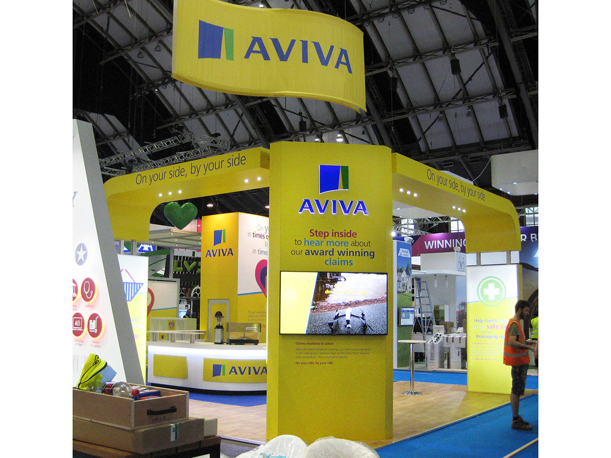 Aviva Exhibition Stand with Curved Hanging Banner BIBA