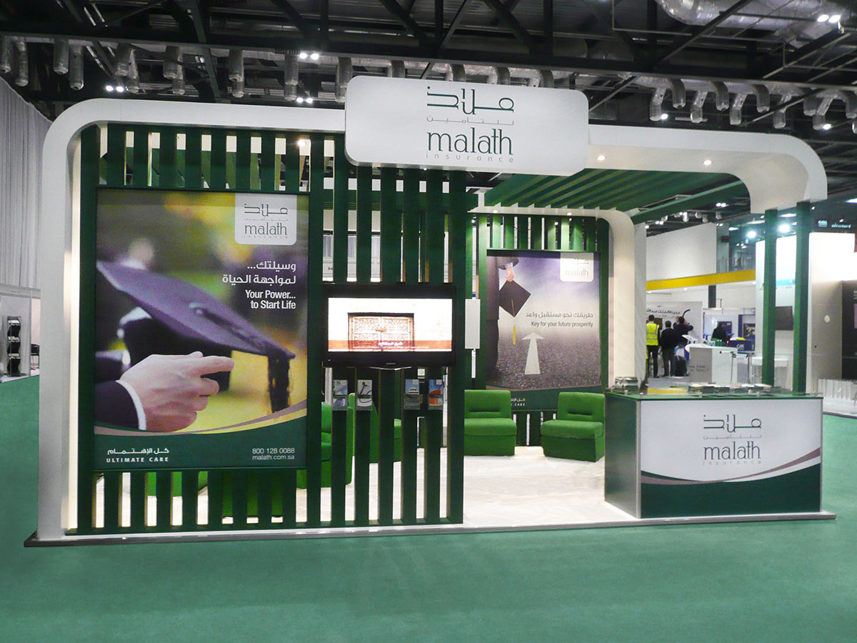Custom Curved Exhibition Stand Malath Insurance