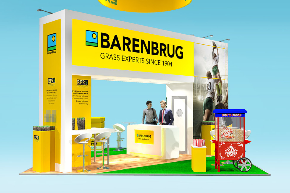 Exhibition stand design with integrated grass display Barenbrugs