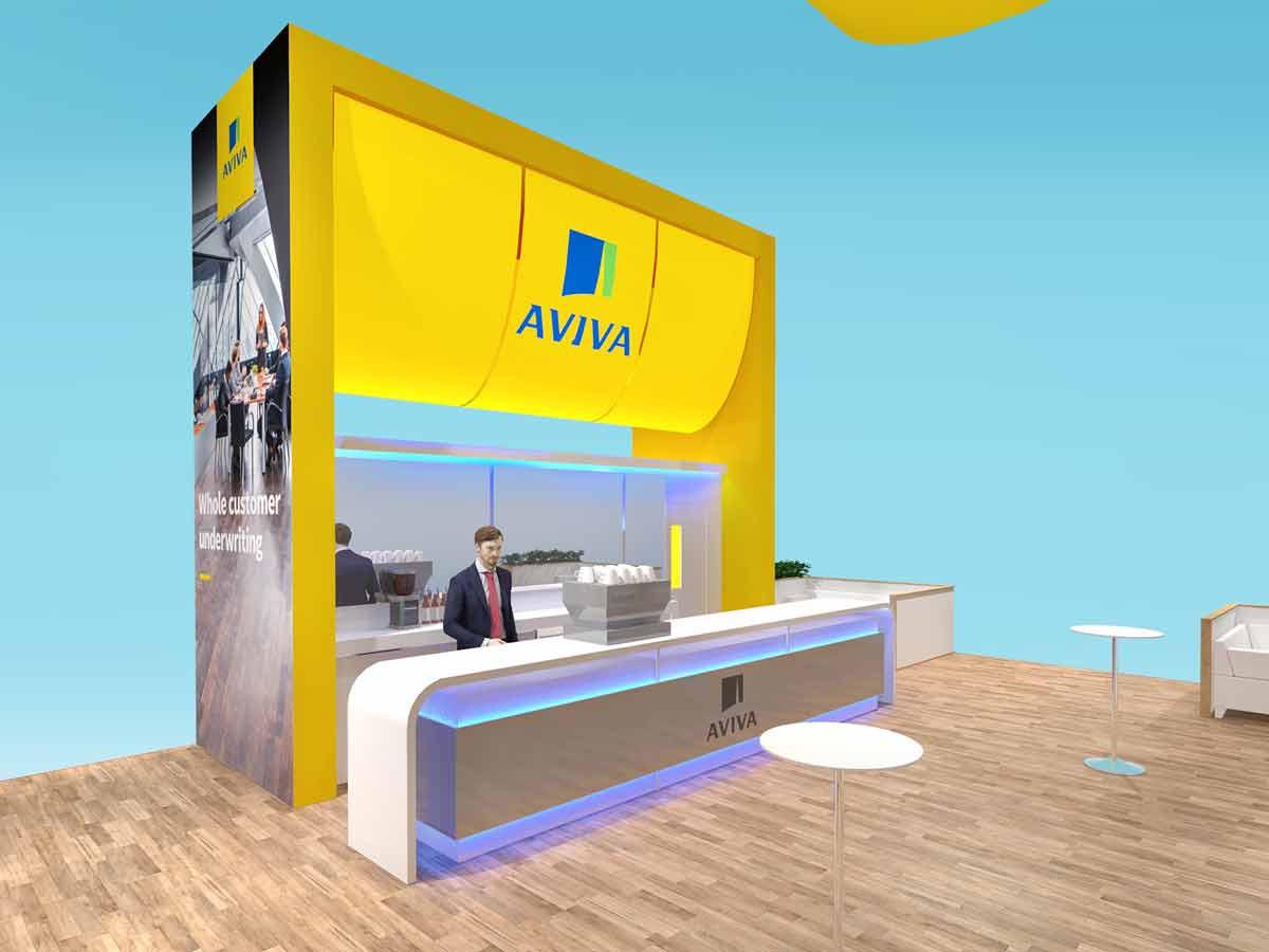 Contemporary Exhibition Stand Design Concept Aviva BIBA 2020