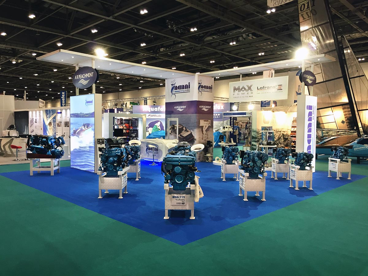 Engines displayed on large custom exhibition stand for A R Peachment