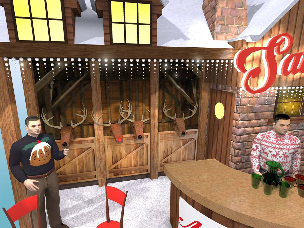 Christmas Exhibition Stand Design Reindeer Feature
