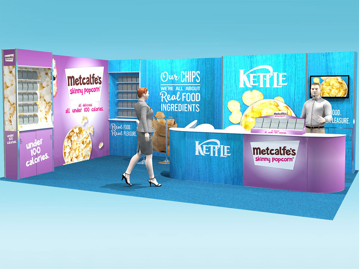 large dual brand exhibition stand design concept kettle foods and metcalfes