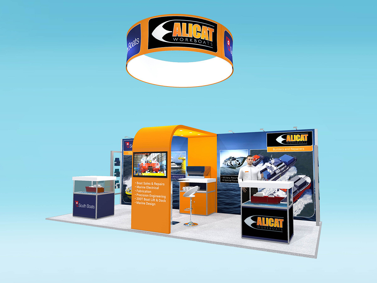 Exhibition Stand Design with High Level Banner Alicat