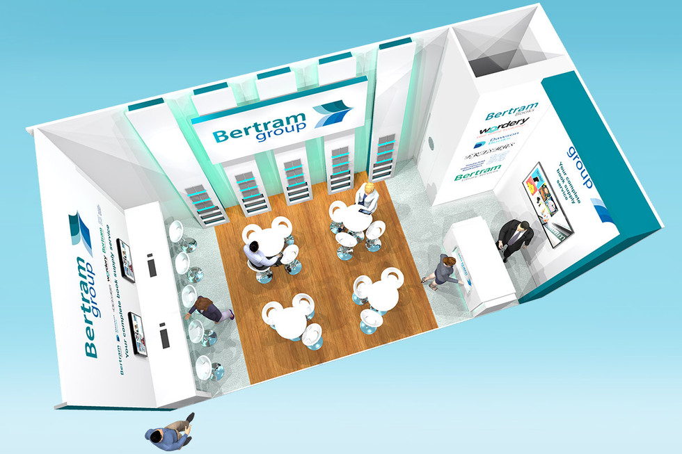 Overhead view of Bertram Books Exhibition Stand Design