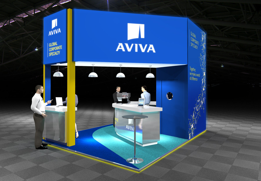 Exhibition stand design with coffee bar Aviva at Airmic