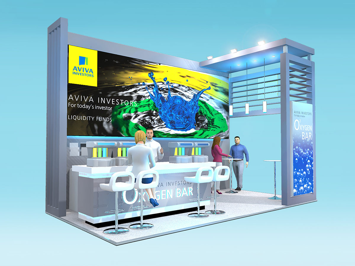 Custom Exhibition Stand Design with Oxygen Bar Aviva Investors