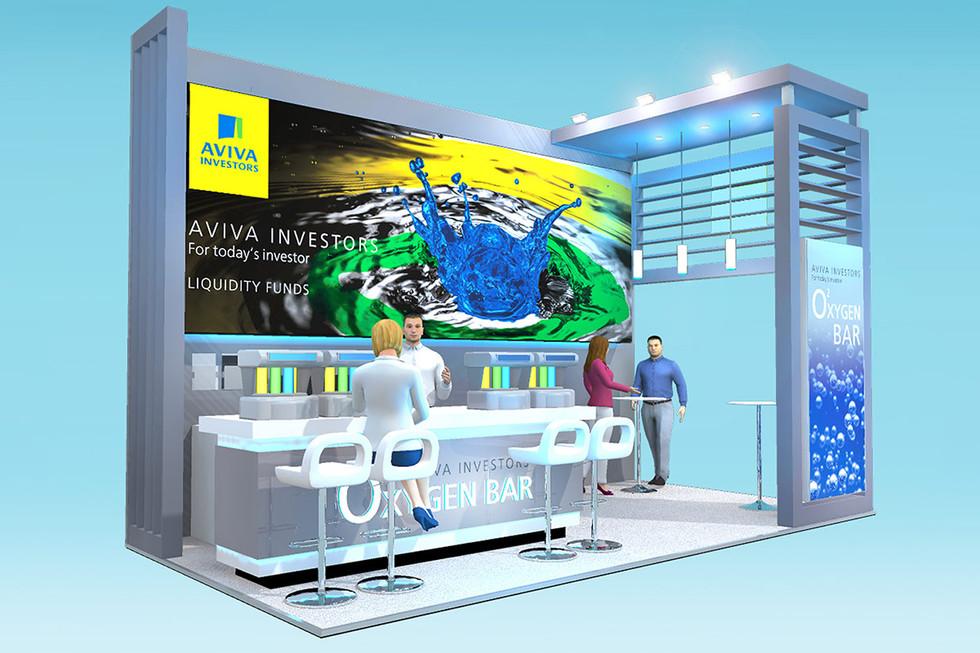 Custom Exhibition Stand Design with Oxygen Bar Aviva Investors