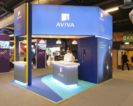 Custom Exhibition Stand Lightbox Graphics Aviva Airmic 2019