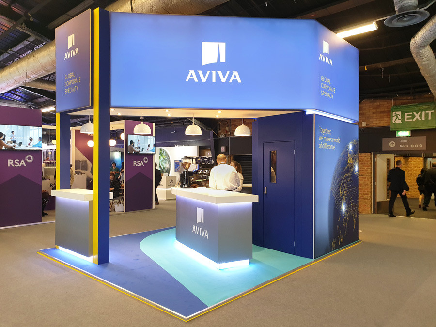 Custom Exhibition Stand Lightbox Graphics Aviva Airmic 2019