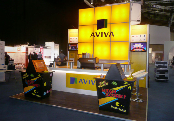 Retro video game themed exhibition stand aviva airmic