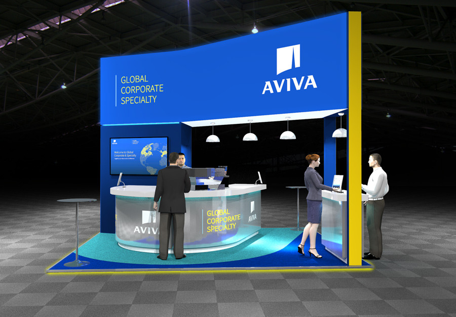 Contemporary Exhibition Stand Design Aviva at Airmic