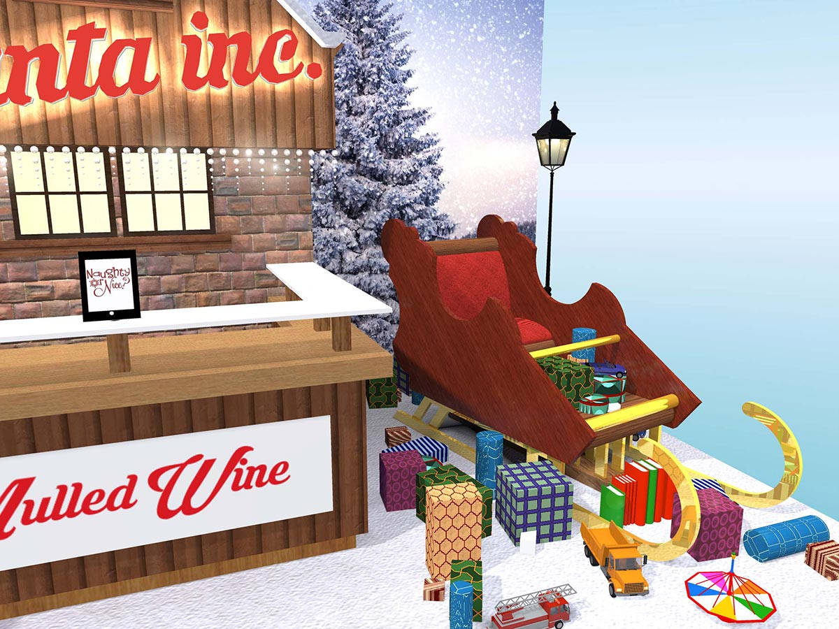 Christmas Exhibition Stand Design Santas Sleigh Feature