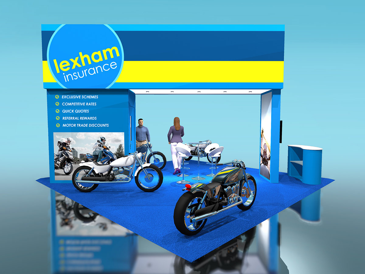 Custom Exhibition Stand Design with Motorcycles for Lexham