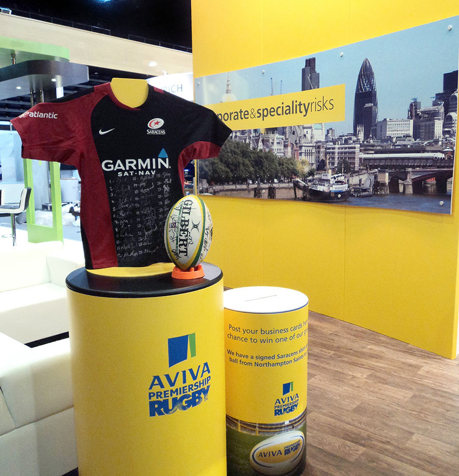Aviva Rugby Promotional Plinth on Exhibition Stand