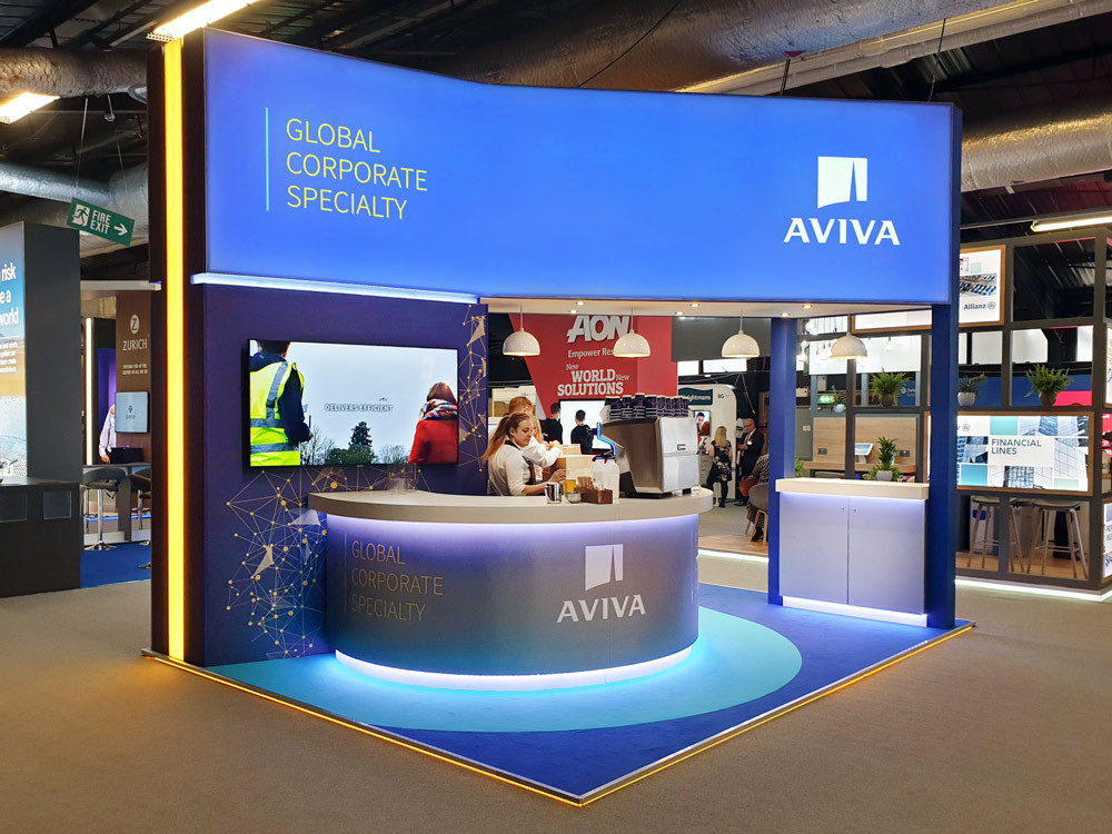 Custom Exhibition Stand Design and Build Aviva Airmic 2019