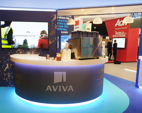 Custom Exhibition Stand Curved Counter Aviva Airmic 2019