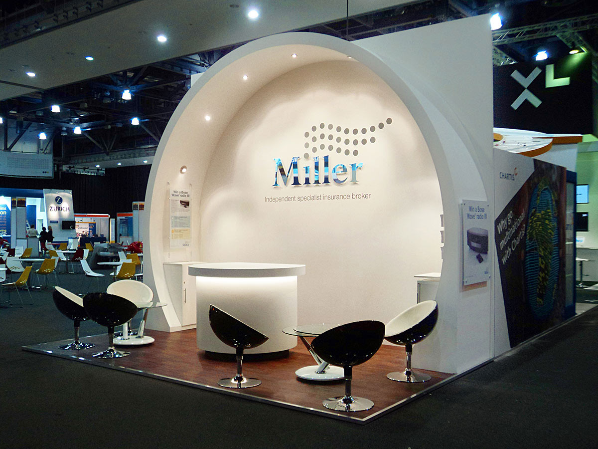 Exhibition Stand with Curved Feature Soffit Miller Insurance
