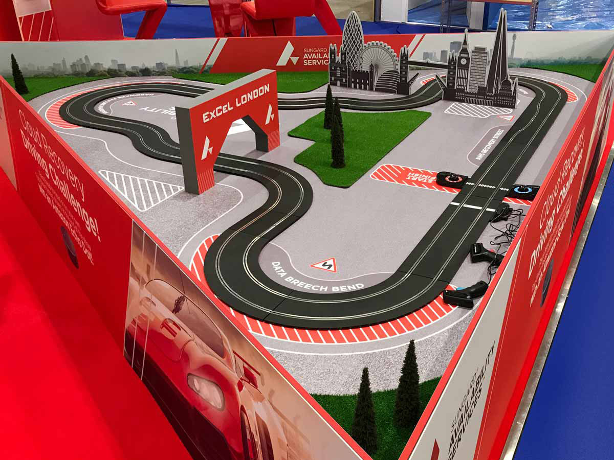 Exhibition Stand Scalextric Interaction Sungard Cloud Expo 2018