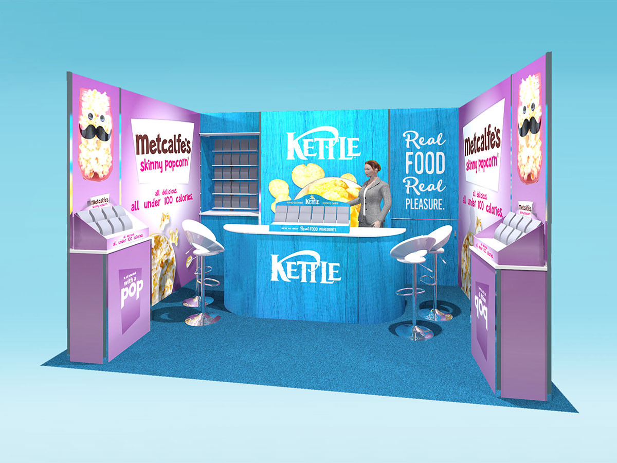 exhibition stand design concept for shell scheme kettle foods