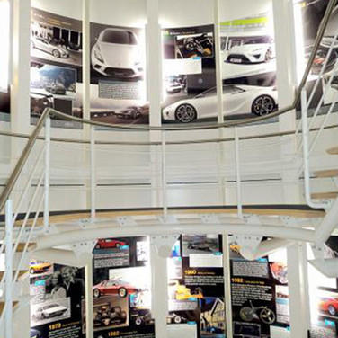 Wall Graphics with company timeline and history for Lotus Cars Head Office Norfolk
