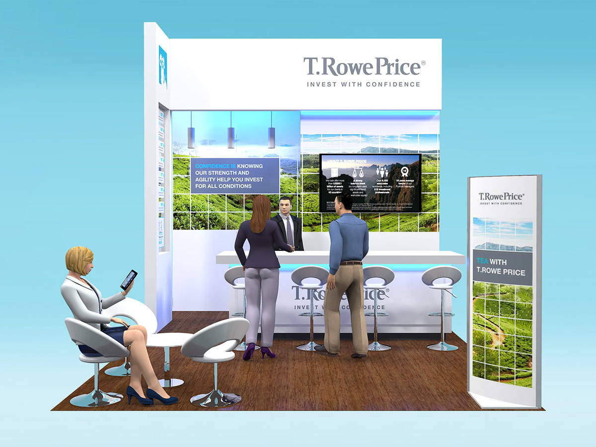 T Rowe Price Exhibition Stand Design with Company Timeline
