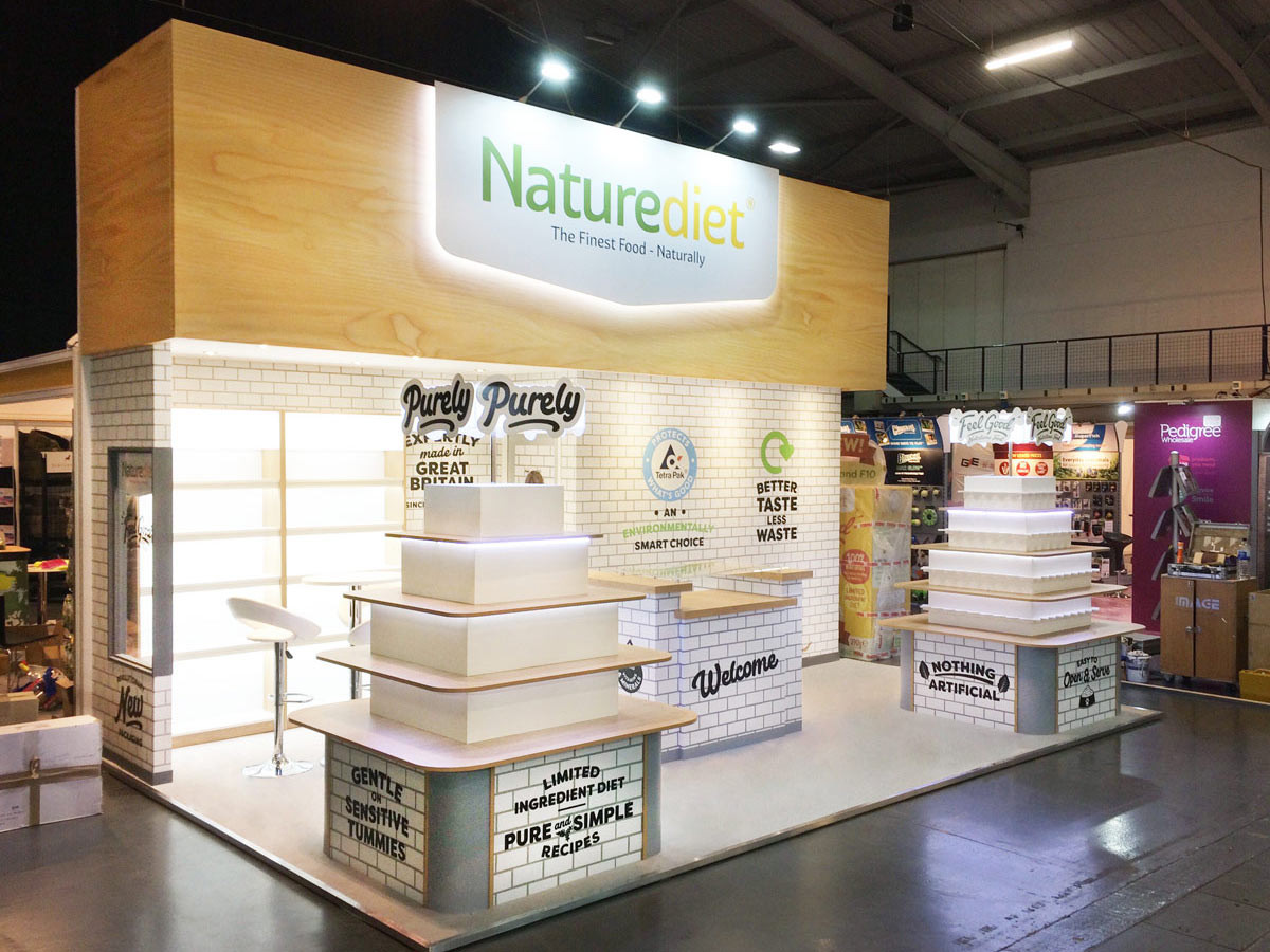 Custom exhibition stand design and build naturediet PATS event