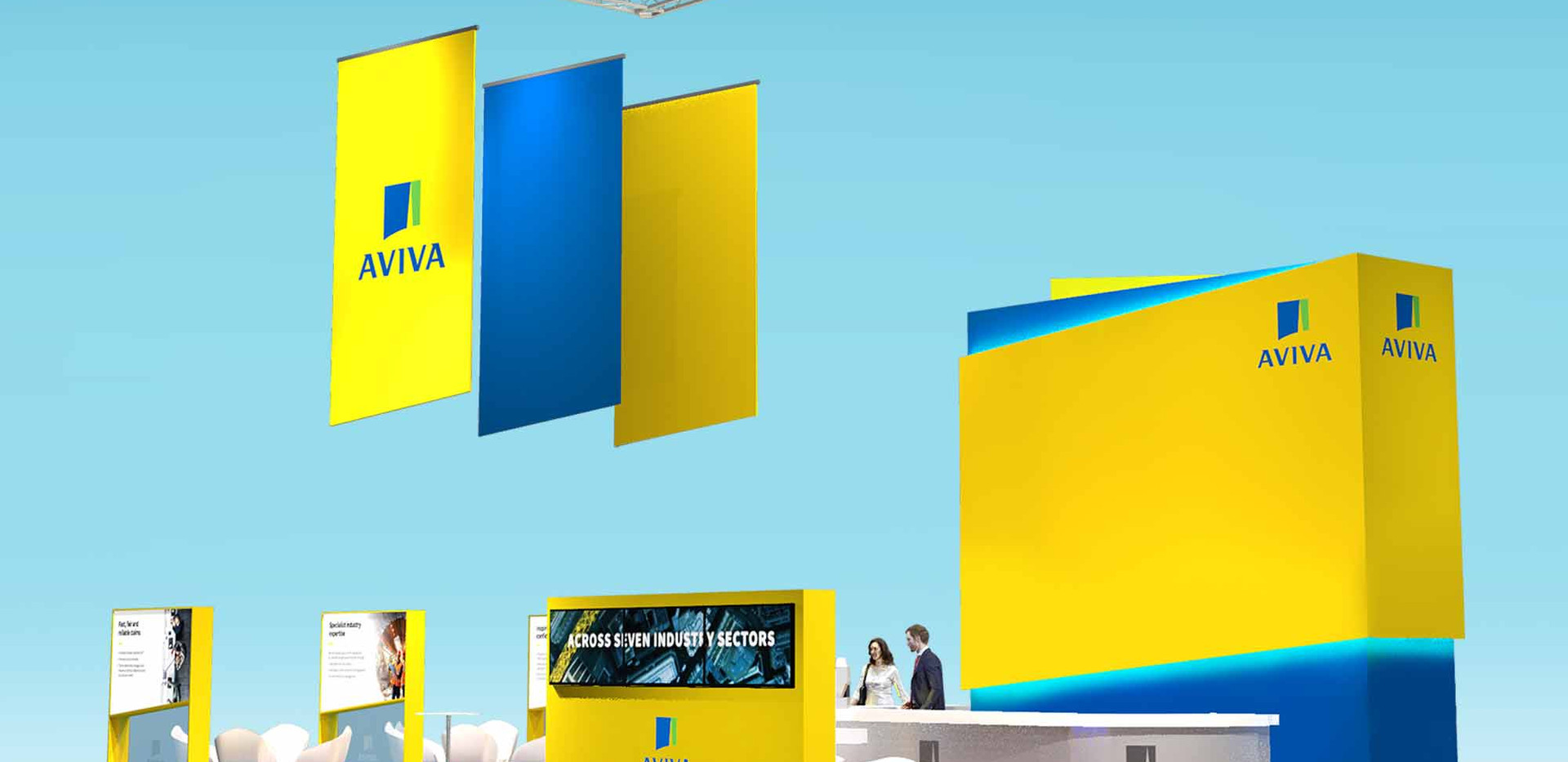 Modern Open Plan Exhibition Stand Design Aviva BIBA 2020
