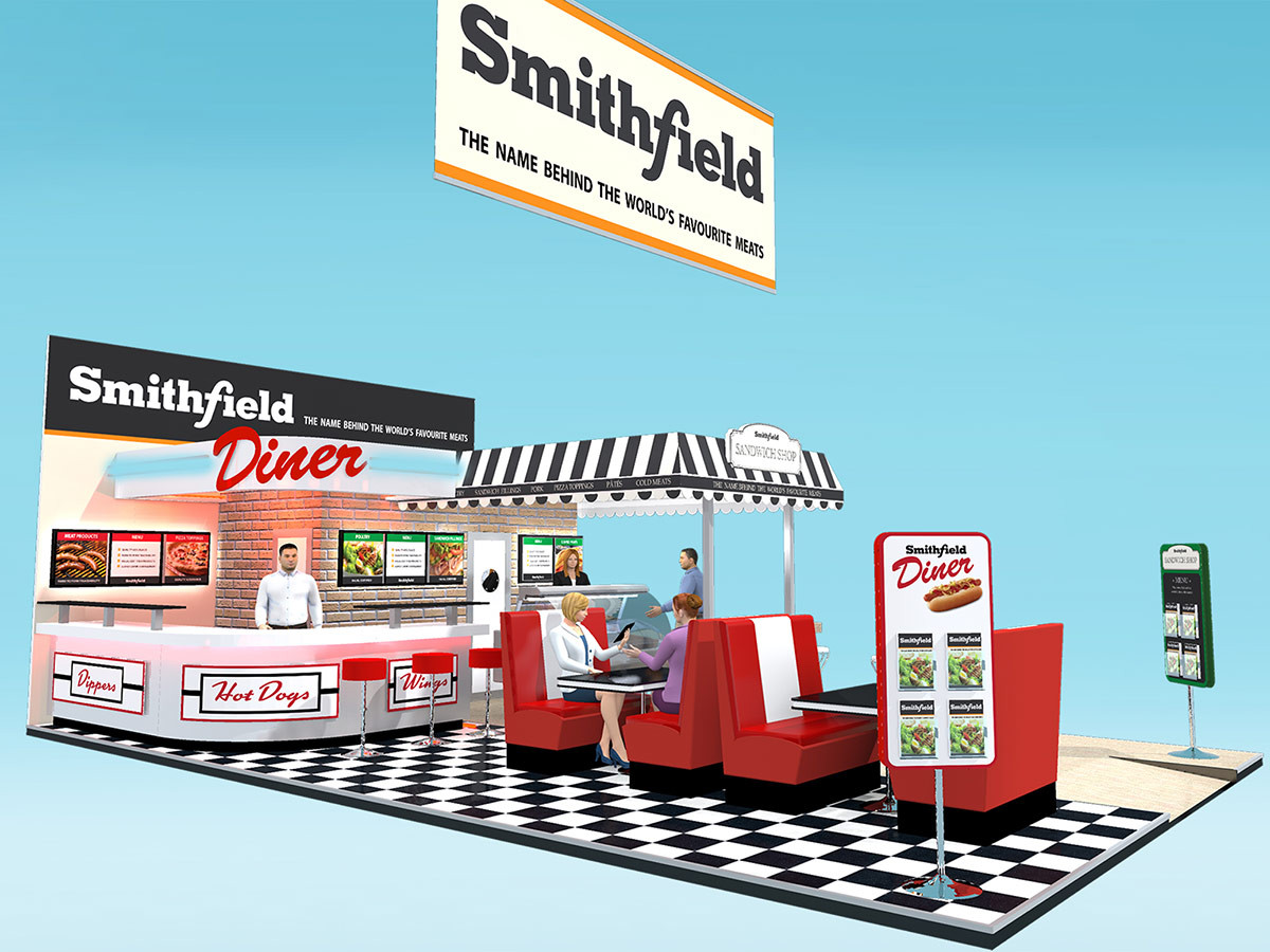 American diner themed exhibition stand design Smithfield
