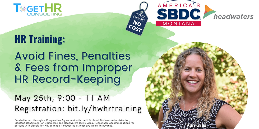 HR Training: Avoid Fines, Penalties  & Fees from Improper  HR Record-Keeping
