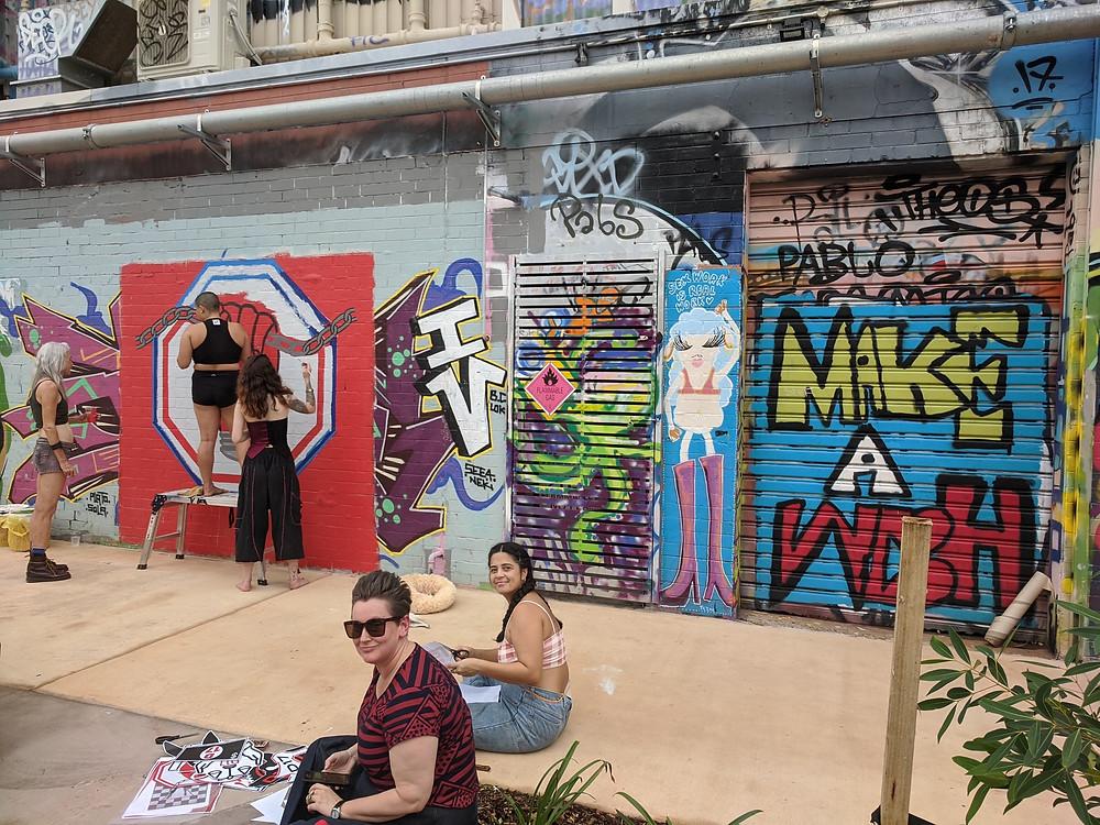 artists painting street art