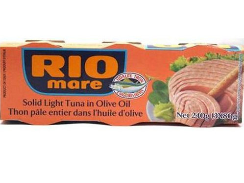 Rio Mare Solid Light Tuna in Olive Oil - 3 cans (80g each)