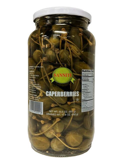 Sanniti Caperberries in Vinegar and Salt Brine - 33.5 oz
