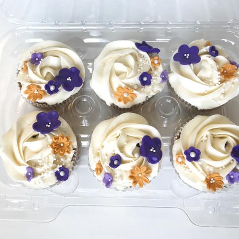 Purple floral cupcakes