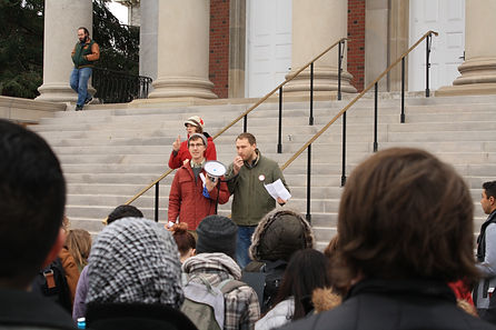 students at a rally