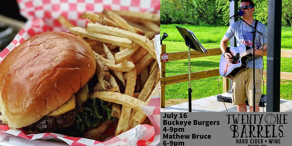 Buckeye Burgers  w/ music from Mathew Bruce