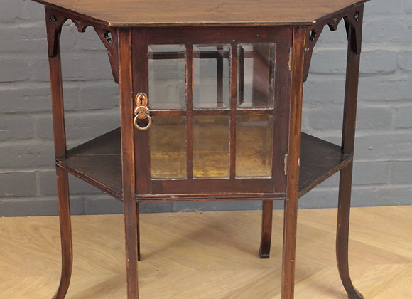 Hexagonal Arts & Crafts Glazed Cabinet