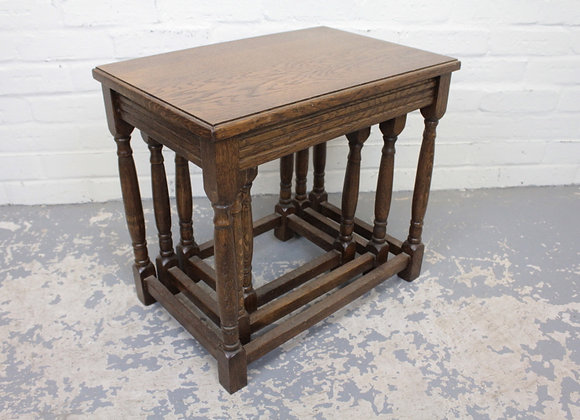 Antique Style Oak Nest of 3 Tables