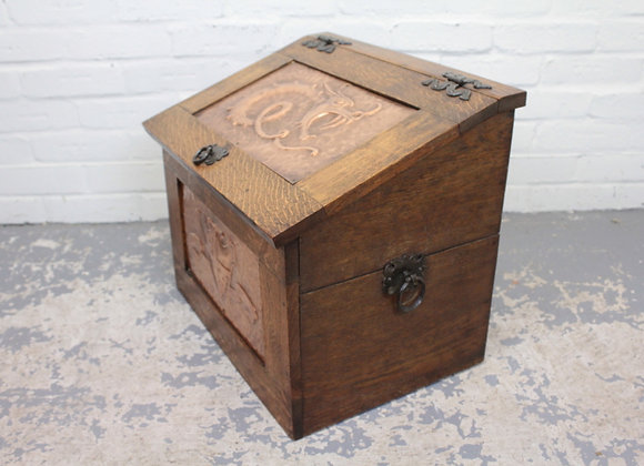 Arts and Crafts Copper and Oak Coal Scuttle