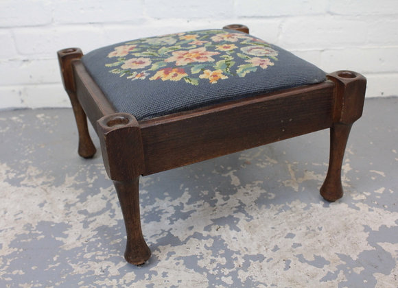 Edwardian Needle Point Low Foot Stool