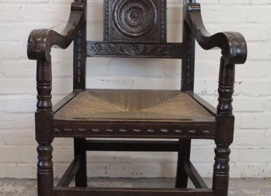 Victorian Carved Oak Carver