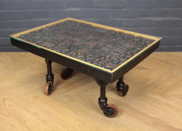 Vintage Industrial Print Block Coffee Table